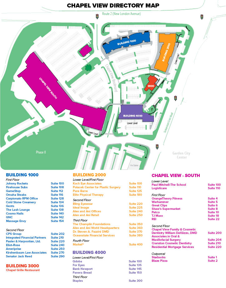 graphic about Printable Directory called Listing Map - Chapel Perspective - Cranston, RI